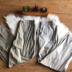 (2) Columbia men's six pocket cargo khaki pants